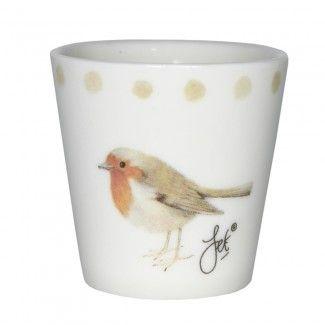 Schattig #eierdopje met illustratie van #roodborstje | #egg-cup #robin | World Of Jet
