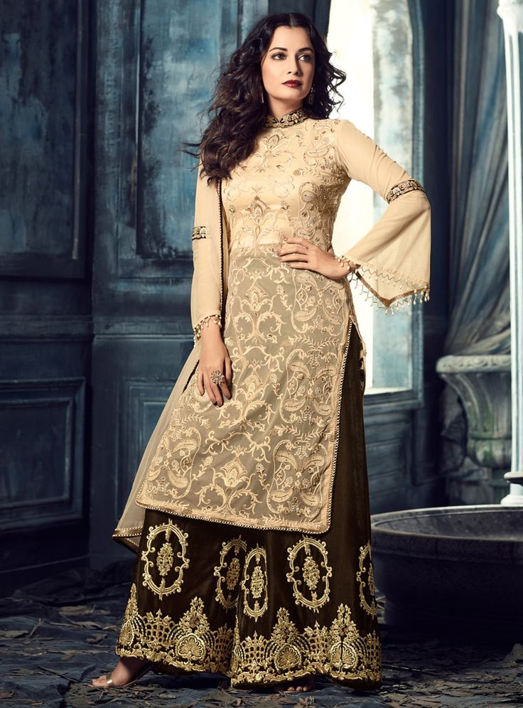 Dia Mirza Beige Net Palazzo Style Salwar Suit 107981