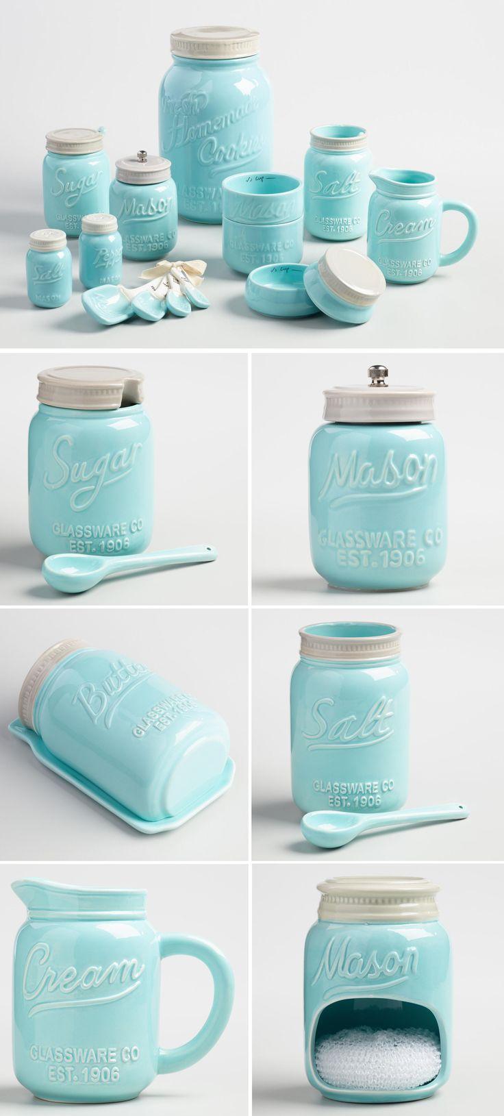 Blue Mason Jar Ceramic Collection