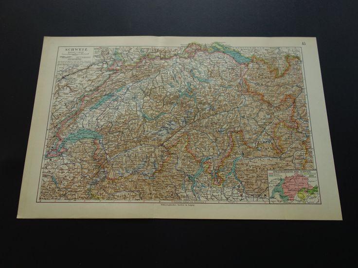 """Original 100+ year old map of Switzerland - 1913 antique print linguistics - Schweiz Zwitserland Suisse Geneve Bern Luzern 25x38c 10x15"""" by VintageOldMaps on Etsy"""