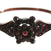 Antique Victorian Bohemian Garnet Hinged Bangle Bracelet
