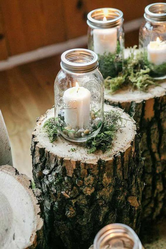 Candles on maon jar wedding decor / http://www.deerpearlflowers.com/wedding-ideas-using-candles/4/