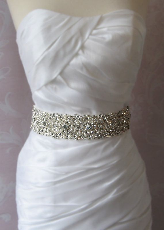Crystal & Pearl Sash Rhinestone Wedding Belt by TheRedMagnolia