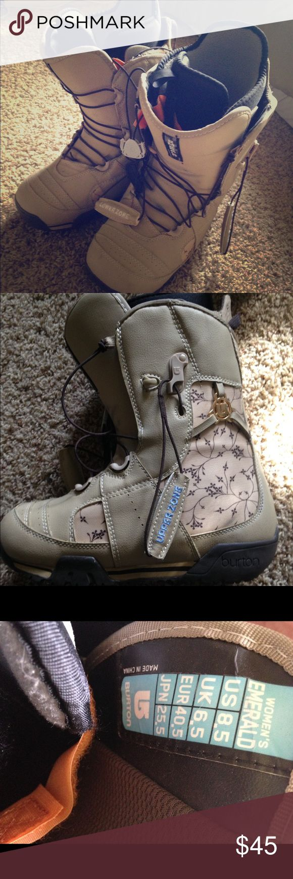 Women's Burton Snowboarding Boots 8.5 Tan and beige snowboarding boots, only worn a handful of times. Size 8.5 and Burton Emerald. Burton Shoes Athletic Shoes