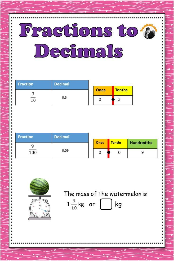 Fractions to Decimals Worksheets - with Denominators 10 or 100   Fractions  to decimals worksheet [ 1103 x 735 Pixel ]