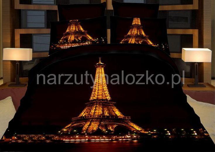 Podświetlona Wieża Eiffla modna czarna pościel