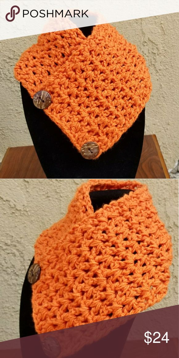 Crochet orange scarf with large wood buttons Crochet handmade we do accept customer custom orders for colors and size handmade Accessories Scarves & Wraps