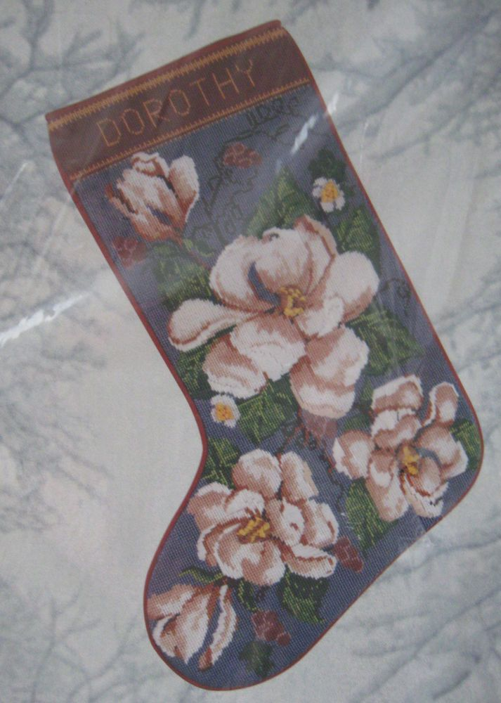 Candamar Needlepoint Stocking Kit Magnolia Ribbon Christmas 30846 #CandamarDesigns