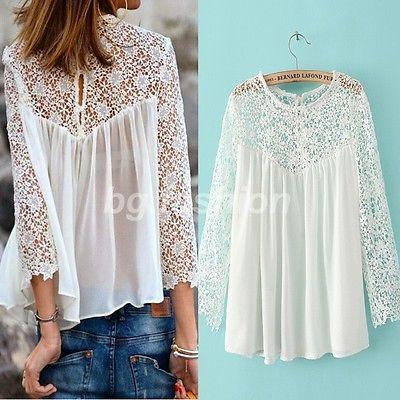 Mujeres Camiseta de Gasa con Encaje Blusa manga larga Hueco Blanco S M L XL XXL                                                                                                                                                                                 Más