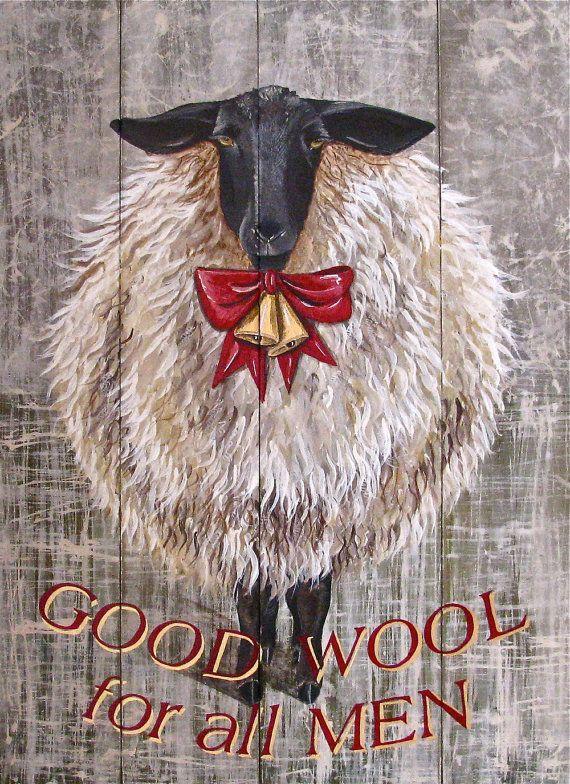 Holiday Sheep original acrylic painting on by johnandgigiathome, $595.00