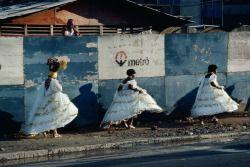""" BRAZIL. Rio de Janeiro. 1980. Samba celebrants returning home after the Carnival. © Bruno Barbey/Magnum Photos """