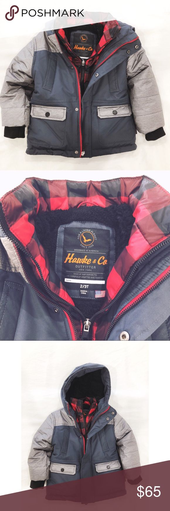 Hawke & Co boys Parka Jacket Brand new Boys 2/3T never worn only tried on, I ripped off the tag thinking it would fit my son. NWOT. Hooded, plaid zip inner liner, long sleeves, zip closure, four pocket design. Imported. Hawke & Co Jackets & Coats