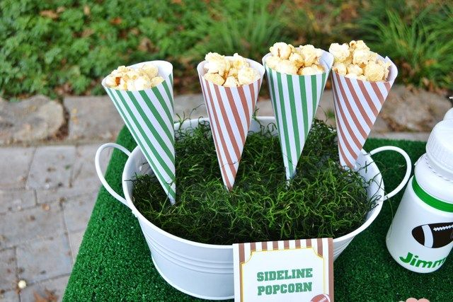 Football Party Popcorn Snacks #football #snacks