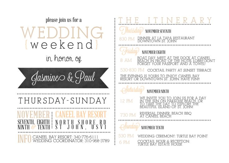Itinerary Template For Wedding Guests Their Sounds Amazing This Was The Templatewedding Weekend Itinerarywedding Timeline