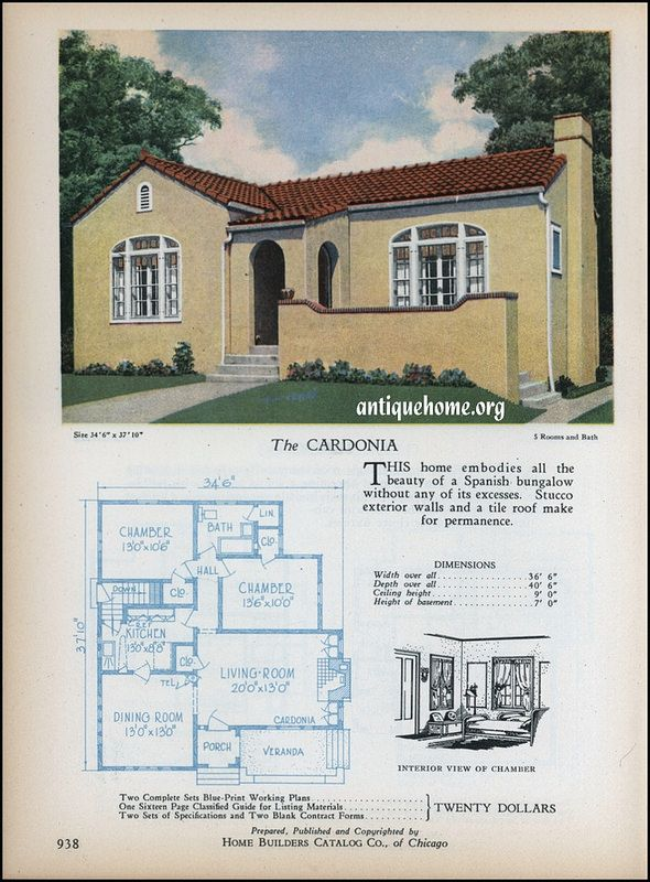 1928 Home Builders Catalog Spanish Bungalow Vintage House Plans Spanish Style Homes