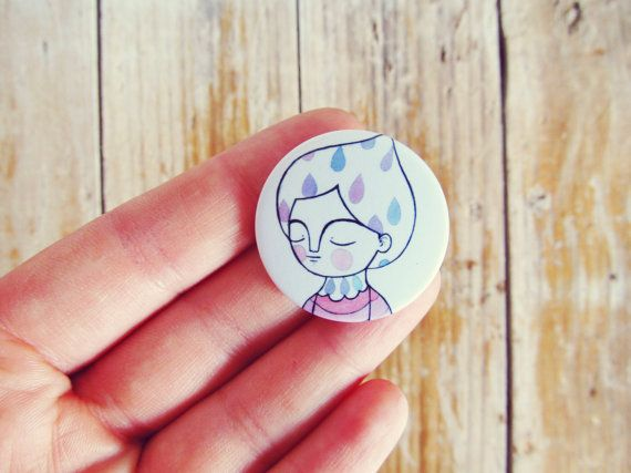 rain girl pin purple pastel button brooch by ireneagh on Etsy