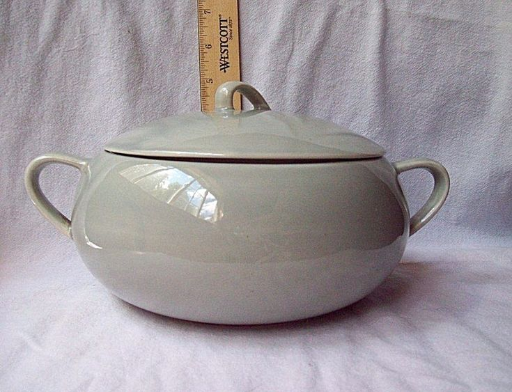 Vintage Sage Green Vegetable Serving Bowl with Lid & Double Handles #sage #green #bowl #table #cooking #soup #vintage #midcentury #MCM #pottery #auction #eBay