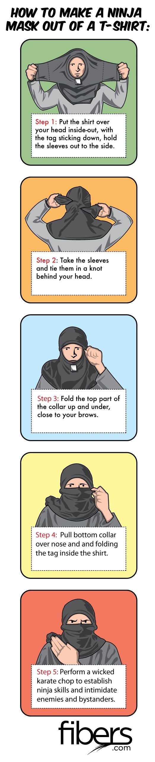 How to Make a Ninja Mask Out of a T-SHirt in Just 5 Easy Steps                                                                                                                                                     More