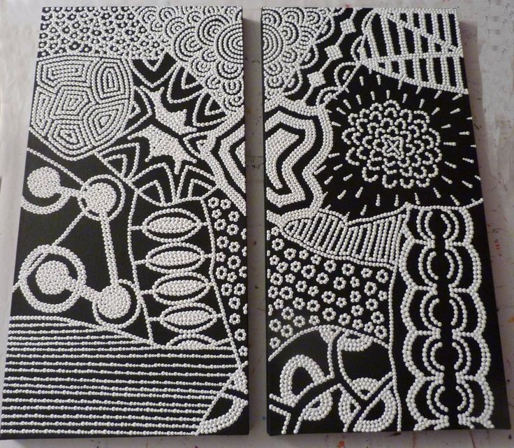 vendu diptyque contemporain noir et blanc points et motifs d 39 inspiration aborig ne. Black Bedroom Furniture Sets. Home Design Ideas