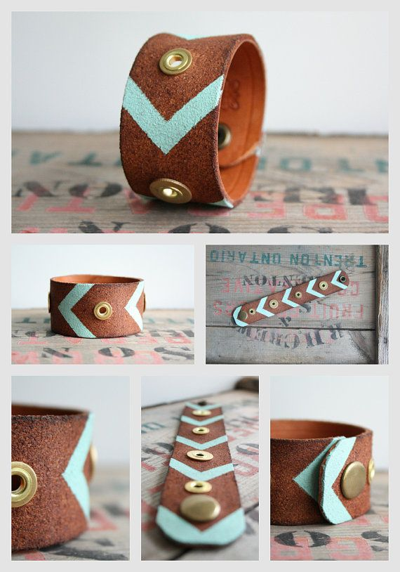 Leather Cuff Bracelet Hand painted Leather Cuff by Jolicoeuretcie