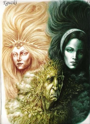 Basque Goddesses: Eguzki - Sun Goddess, Laski - Moon Goddess & their mother Lur - Earth Goddess