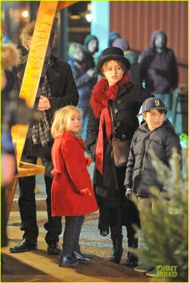 Helena Bonham Carter and Tim Burton take their kids Nell and Billy Ray to the Winter Wonderland Launch on November 21, 2013