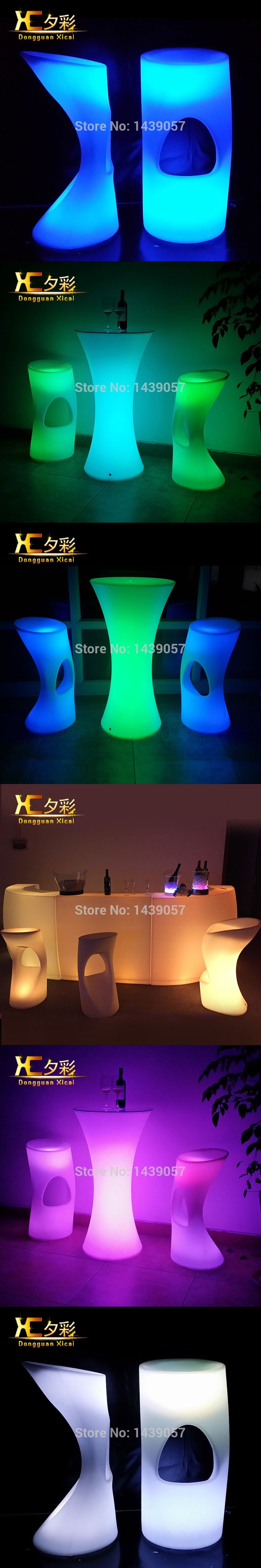 Plastic Glowing LED Bar Stool Home Garden Light Up Club Furniture Luminous Cocktail Chair For Pub