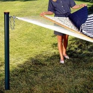 Awesome hammock post you can remove when you have to mow!  Need two of these for Dan :)