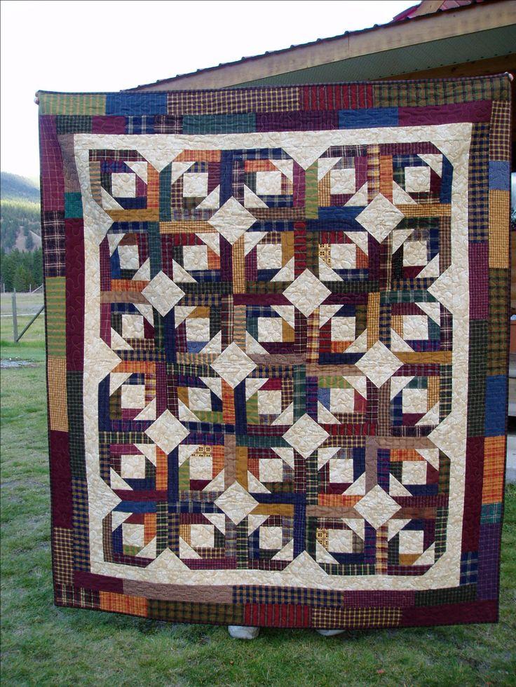 quilt made with homespun fabrics using Bonnie's pineapple quilt ... : pineapple quilt - Adamdwight.com
