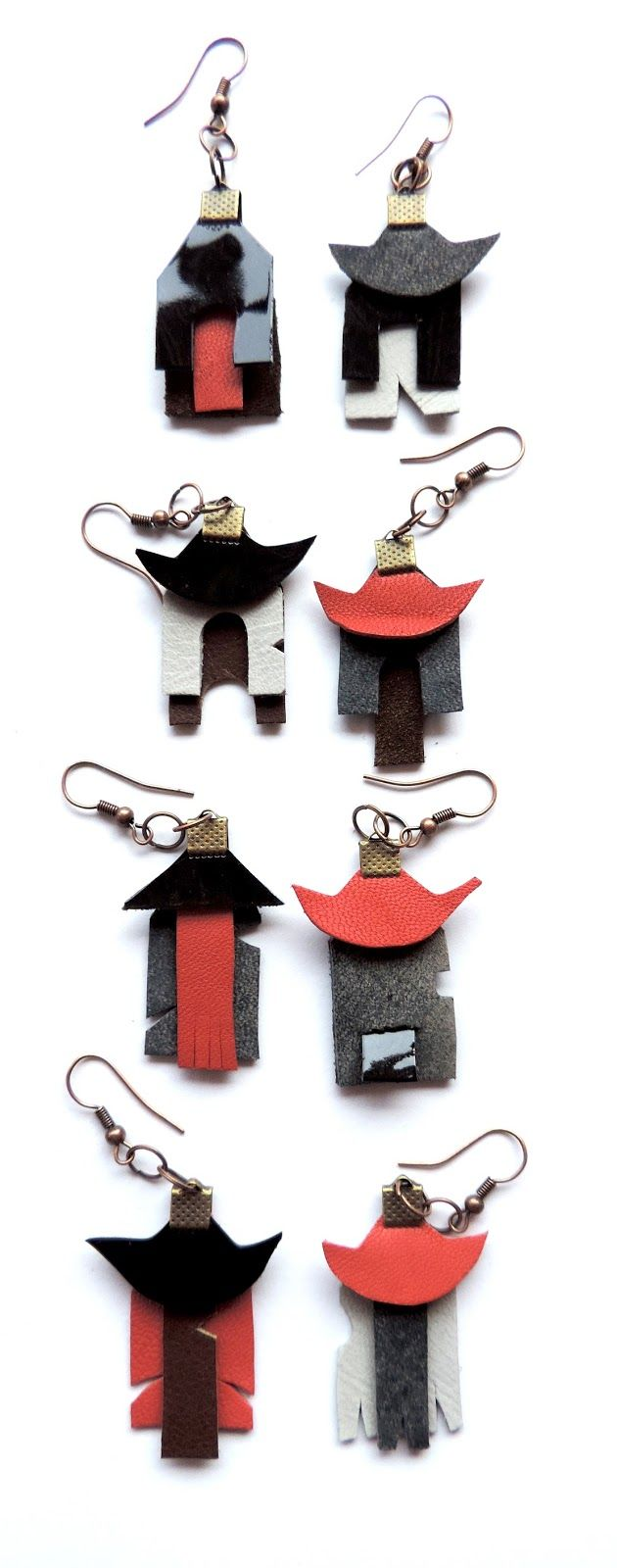 (un)intentional contemporary art in Transylvania: Tutorial - asymmetrical houses leather earings