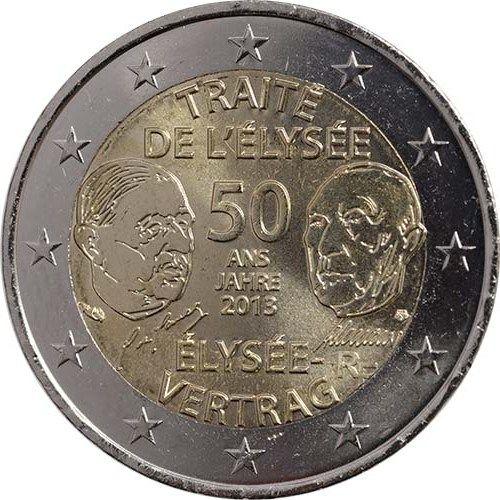 """Moneta Celebrativa """"50° anniv. Trattato dell'Eliseo"""" Anno: 2013  Stato: Francia-Germania"""