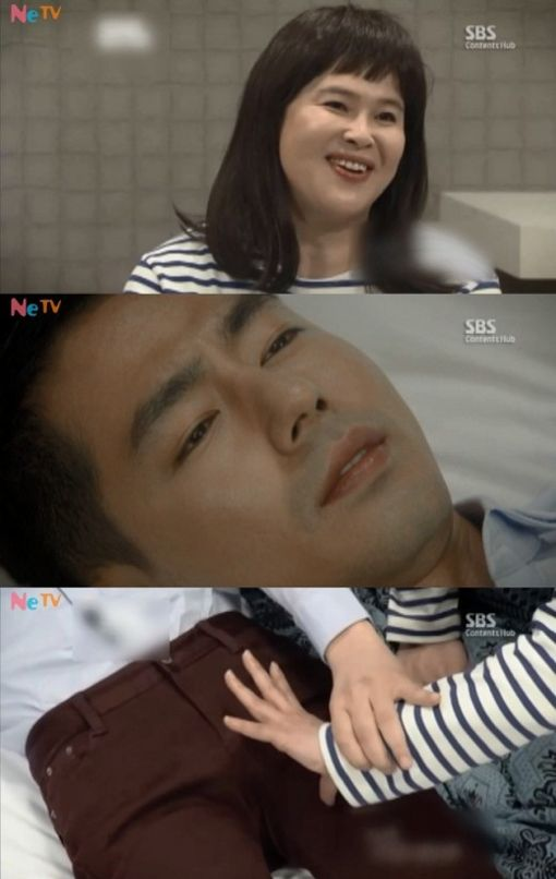 "Lee Young Ja re-enacted a famous scene from the popular drama ""That Winter, the Wind Blows"" where Song Hye Gyo touches Jo In Sung to see what his physical features are like.  Lee Young Ja said, ""I can't see so I need to touch in order to know. Oppa, I'm curious about you."" The clip was edited so that Jo In Sung says, ""You know where to touch and where not to touch, right?""  The clip showed Lee Young Ja hovering her hand over Jo In Sung's private area, which made many laugh."