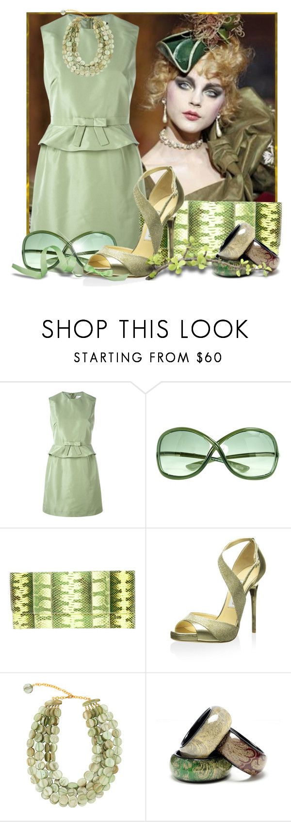 """""""Shades of Sage"""" by doozer ❤ liked on Polyvore featuring RED Valentino, Tom Ford, Carlos Falchi, Jimmy Choo, Dominique Denaive and Amrita Singh"""