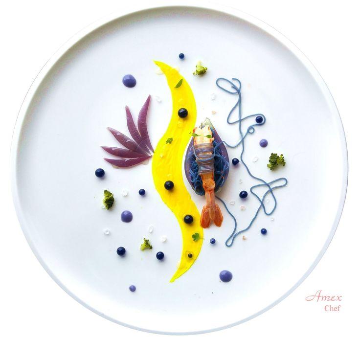 Shrimp on Spaghetti with Purple Cabbage