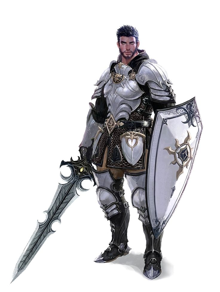 Male Human Armored Sword and Shield Fighter Knight - Pathfinder PFRPG DND D&D d20 fantasy