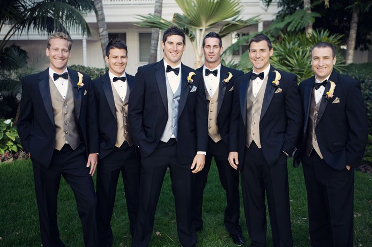 Classic tuxes. Photo by Joshua Aull Photography. www.wedsociety.com #groomsmen