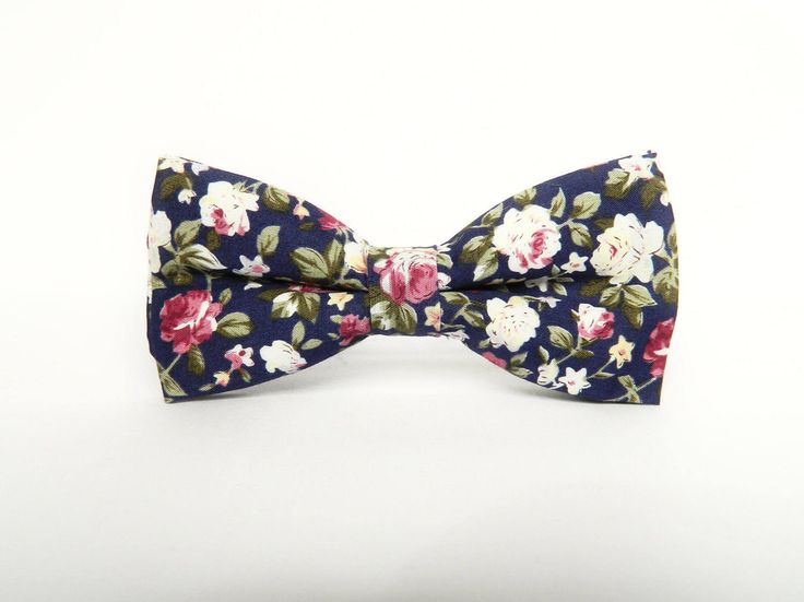 Men's floral dark blue bow tie floral Pre-tied bow tie gift for men wedding blue floral bow tie groomsmen by TheStyleHubTrends on Etsy