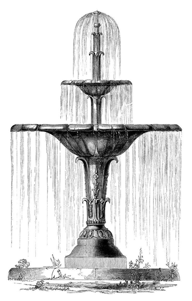 40+ Fountain Clipart Black And White