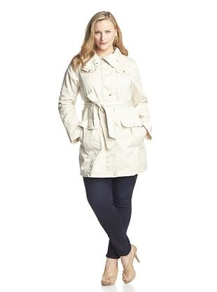 66% OFF Ellen Tracy Women's Plus Belted 4-Pocket Trench Coat (Sand)