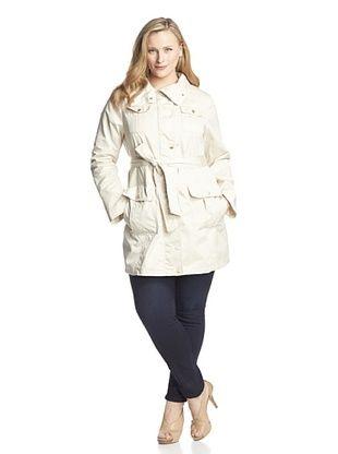 66% OFF Ellen Tracy Women's Plus Belted 4-Pocket Trench Coat (Sand)