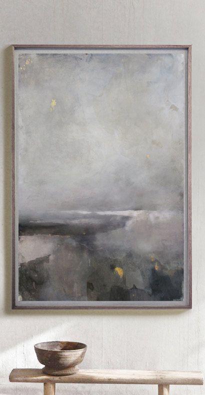 Grande pittura astratta - originale, grande paesaggio astratto, arte contemporanea / moderna pittura / bianco e nero