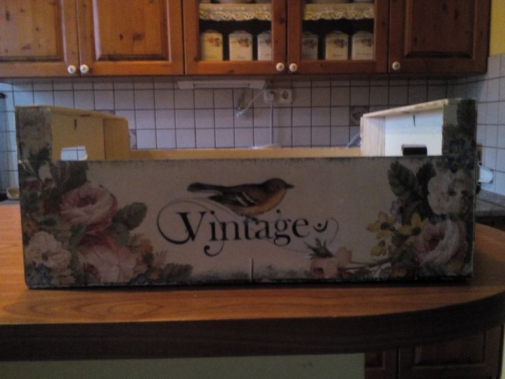 Fruit box with decoupage & transfer