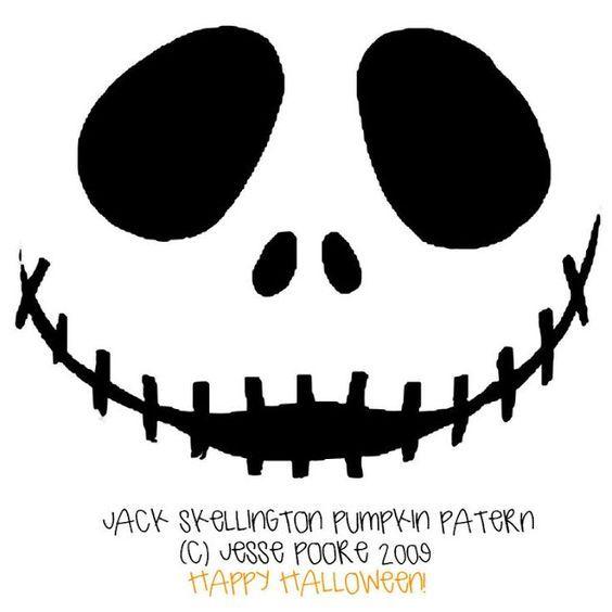Free printable jack skellington pumpkin carving stencil templates download