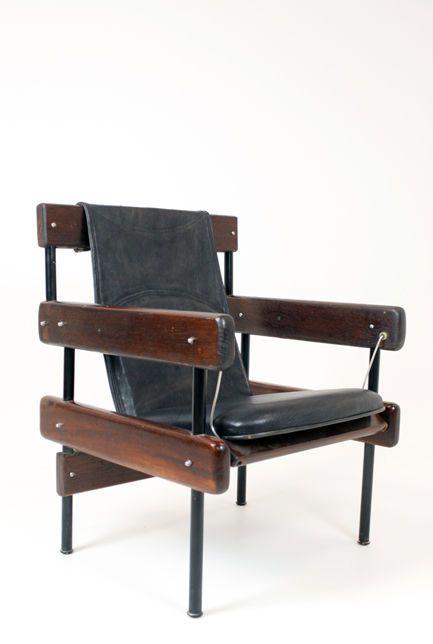 Sergio Rodrigues; Baruna, Enameled Metal and Leather 'IAB Auditorium Chair', 1965.