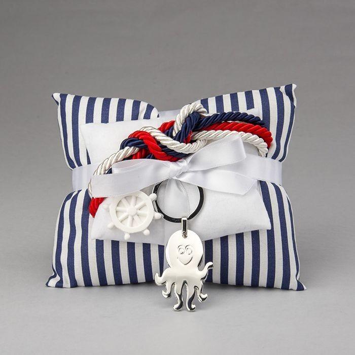 Portachiavi polipo in acciaio con doppio cuscino in cotone e gesso profumato ancora | Bomboniere per Comunione