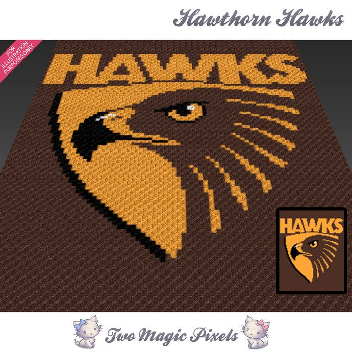 Hawthorn Hawks crochet blanket pattern; c2c, cross stitch; graph; pdf download; no written counts or row-by-row instructions by TwoMagicPixels, $3.99 USD