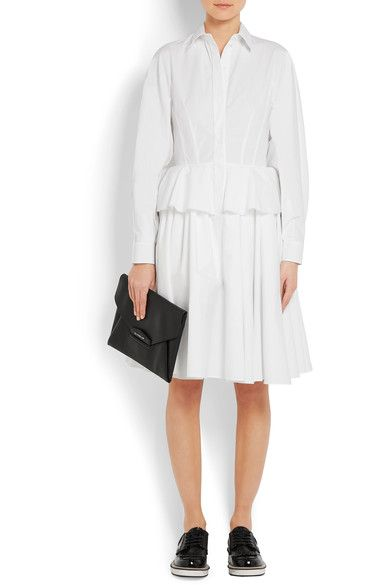 Givenchy - Cotton-poplin Peplum Shirt Dress - White - FR40