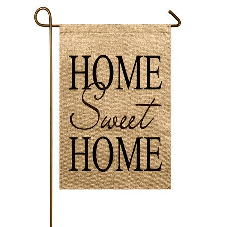Crafted from rustic burlap, this charming garden flag welcomes your seasonal guests in classic style.Product: Flag...