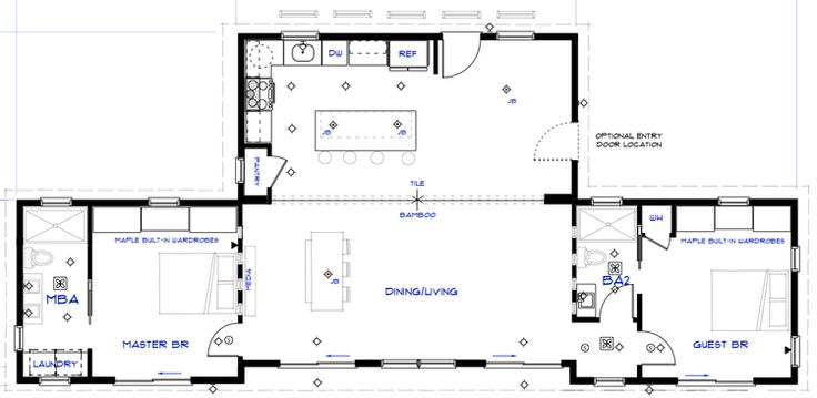 but instead of dividing the kitchen and dinning, make it like the 1st plan and turn the extra space into extra rooms