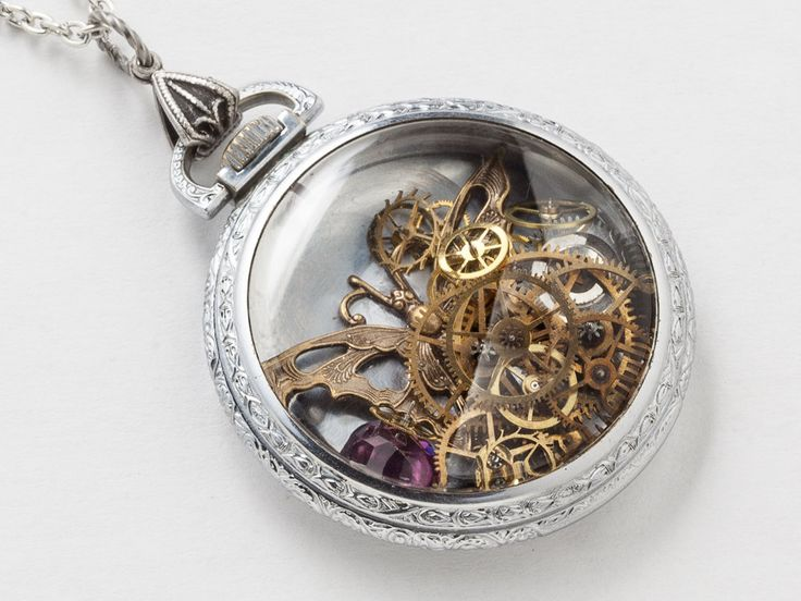 Steampunk Necklace Antique Silver pocket watch movement case with gears gold butterfly charm Amethyst crystal pendant locket jewelry  #SteampunkNecklace #SteampunkJewelry #SteampunkJewelrybyMariaSparks